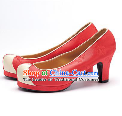 Traditional Korean National Wedding Shoes Watermelon Red Embroidered Shoes, Asian Korean Hanbok High-heeled Court Shoes for Women