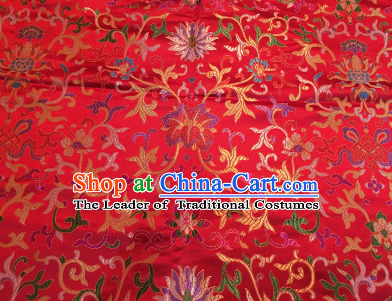 Red Color Chinese Traditional Pattern Design Brocade Fabric Silk Fabric Chinese Fabric Asian Material