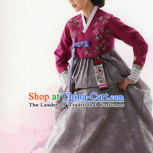 Asian Korean National Traditional Handmade Formal Occasions Bride Embroidered Wedding Hanbok Costume Complete Set