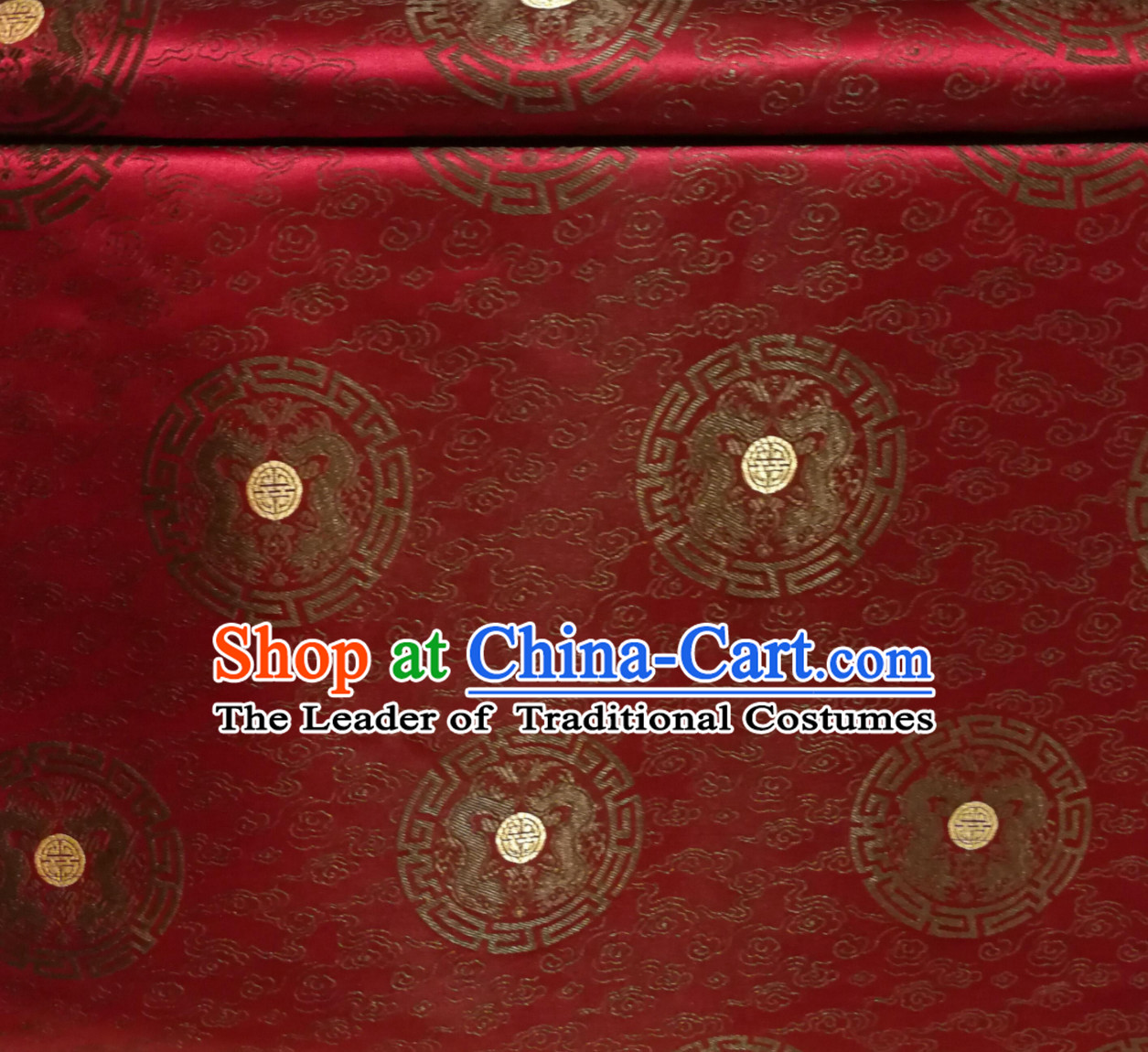 Dark Red Color Chinese Royal Palace Style Traditional Round Dragon Pattern Design Brocade Fabric Silk Fabric Chinese Fabric Asian Material