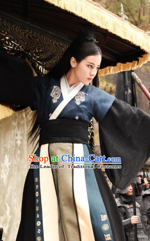 Traditional Chinese Qin Dynasty Female Assassin Costume, Asian China Ancient Swordswoman Embroidered Clothing