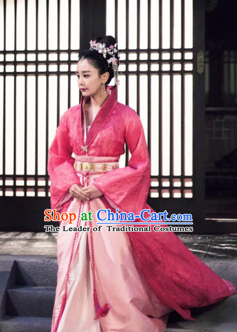 Traditional Chinese Tang Dynasty Imperial Concubine Costume and Headpiece Complete Set, Asian China Ancient Palace Dress Clothing for Women