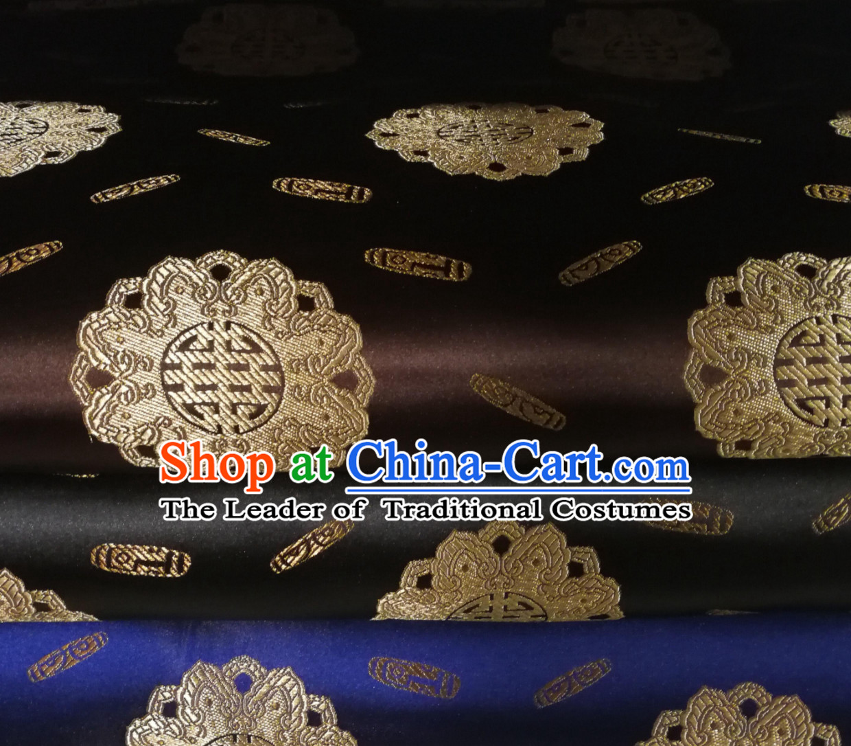 Blue Color Chinese Royal Palace Style Traditional Pattern Design Brocade Fabric Silk Fabric Chinese Fabric Asian Material