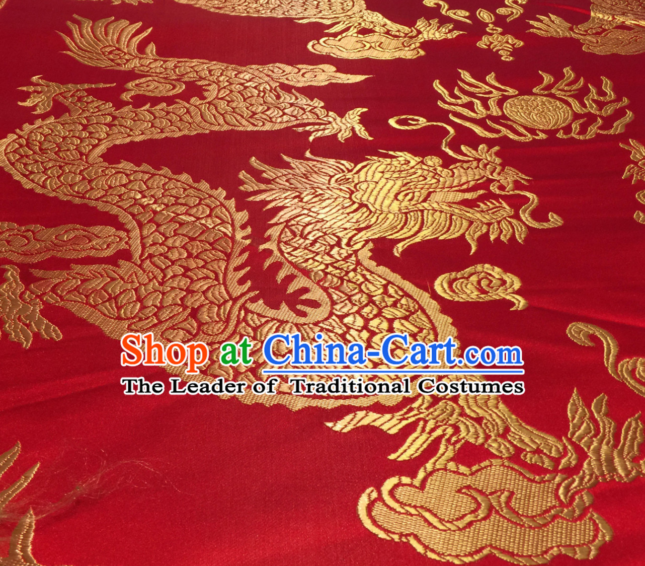 Red Asian Chinese Royal Palace Style Traditional Dragon Pattern Design Brocade Fabric Silk Fabric Chinese Fabric Asian Material