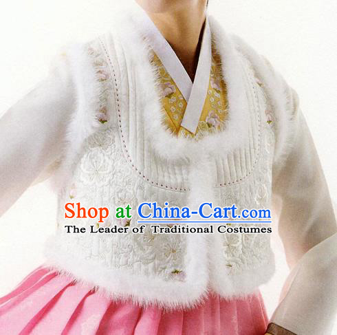 Korean National Handmade Formal Occasions Wedding Bride Clothing Embroidered White Vest Hanbok Costume for Women