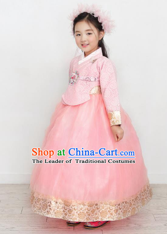 Asian Korean National Handmade Formal Occasions Wedding Clothing Pink Blouse and Dress Palace Hanbok Costume for Kids