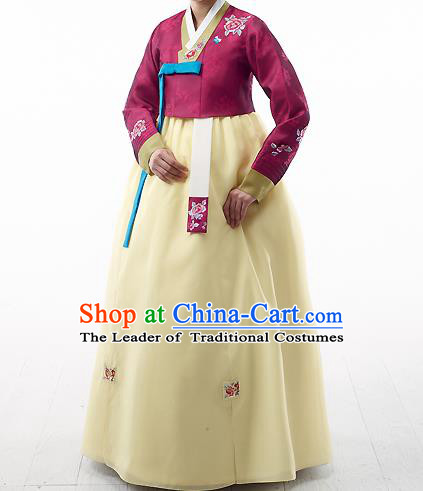 Asian Korean National Handmade Formal Occasions Wedding Bride Clothing Embroidered Amaranth Blouse and Yellow Dress Palace Hanbok Costume for Women