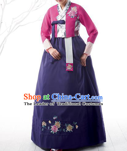 Asian Korean National Handmade Formal Occasions Wedding Bride Clothing Embroidered Pink Blouse and Purple Dress Palace Hanbok Costume for Women