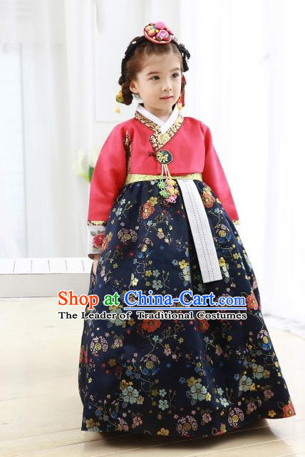 Korean National Handmade Formal Occasions Girls Hanbok Costume Embroidered Red Blouse and Navy Dress for Kids