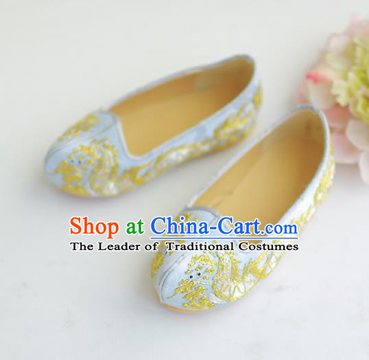 Traditional Korean National Wedding Shoes Light Blue Embroidered Shoes, Asian Korean Hanbok Flat Shoes for Kids