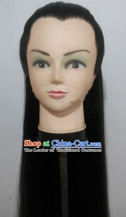 Chinese Ancient Opera Swordsman Black Wig, Traditional Chinese Beijing Opera Young Men Wig Sheath