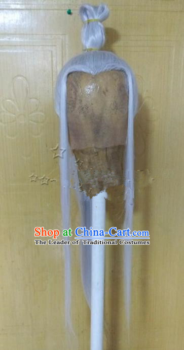Chinese Ancient Opera Swordsman Taoist Priest White Wig, Traditional Chinese Tang Dynasty Kawaler Wig Sheath for Men