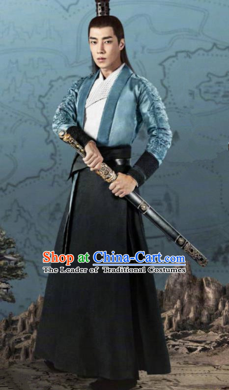 Traditional Chinese Legend Of Fu Yao Nobility Childe Clothing, China Ancient Swordsman Embroidered Costume for Men