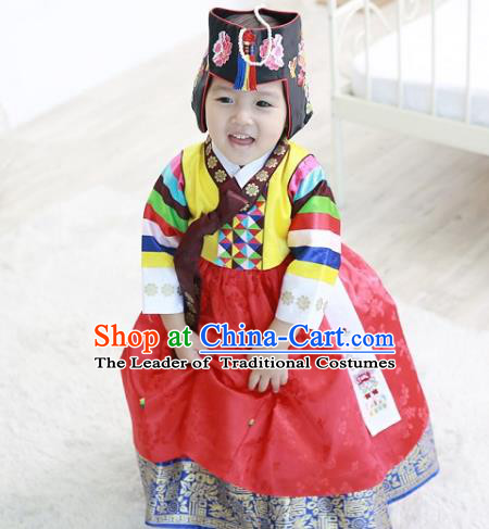 Korean National Handmade Formal Occasions Girls Clothing Palace Hanbok Costume Embroidered Yellow Blouse and Red Dress for Kids