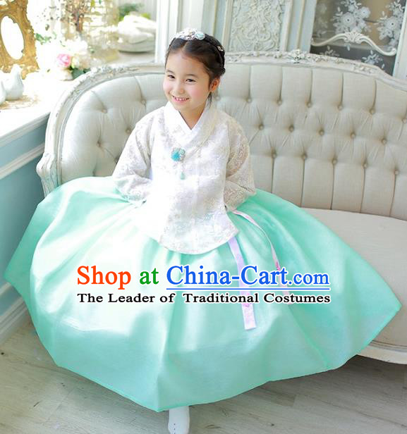 Korean National Handmade Formal Occasions Girls Clothing Palace Hanbok Costume Embroidered White Lace Blouse and Green Dress for Kids