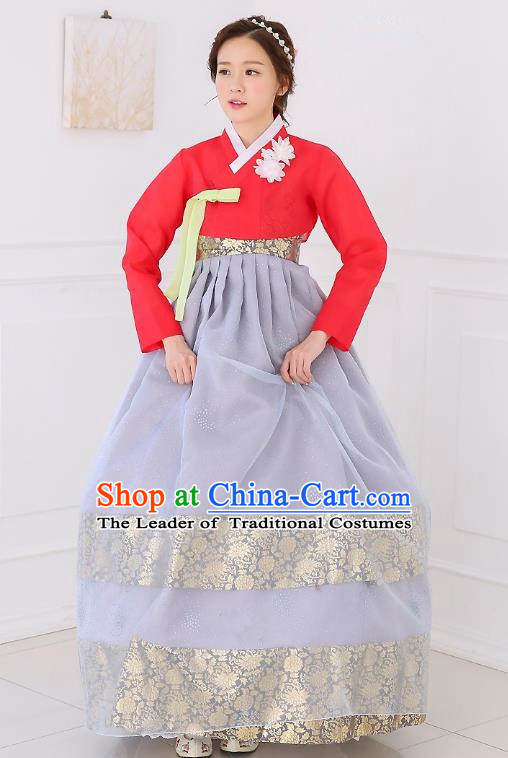 Top Grade Korean National Handmade Wedding Clothing Palace Bride Hanbok Costume Embroidered Red Blouse and Grey Dress for Women