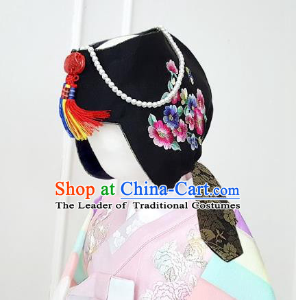 Traditional Korean Hair Accessories Embroidered Flowers Black Hats, Asian Korean Fashion Hanbok Headwear for Kids