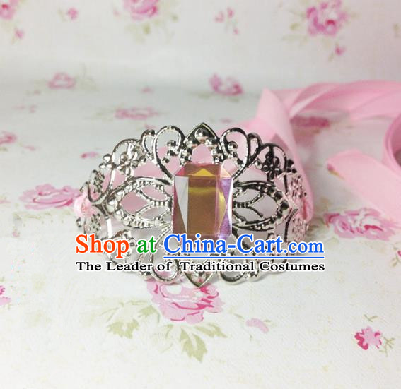 Traditional Handmade Chinese Ancient Classical Hair Accessories Royal Highness Pink Crystal Tuinga Hairdo Crown for Men