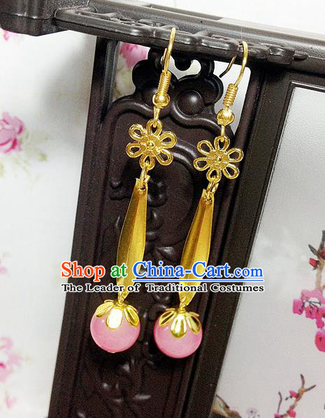 Traditional Handmade Chinese Ancient Classical Accessories Bride Wedding Xiuhe Suit Pink Bead Tassel Earrings for Women