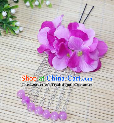 Traditional Chinese Ancient Classical Hair Accessories Purple Flowers Beads Tassel Step Shake Bride Hairpins for Women