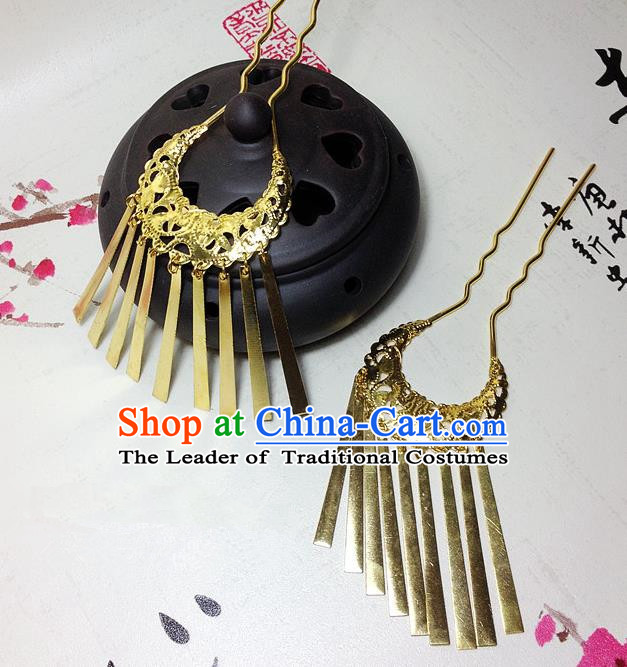 Traditional Chinese Ancient Classical Hair Accessories Golden Tassel Step Shake Bride Hairpins for Women