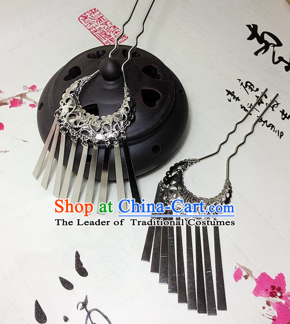 Traditional Chinese Ancient Classical Hair Accessories Tassel Step Shake Bride Hairpins for Women