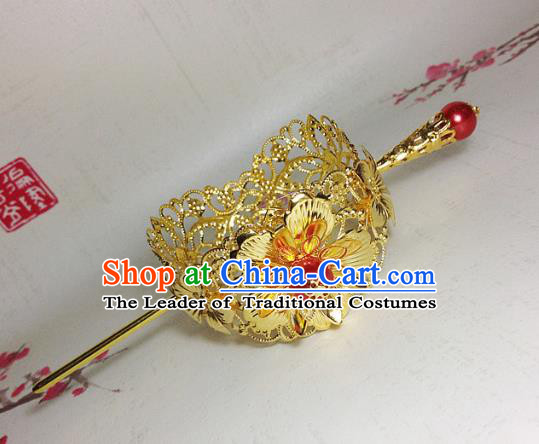 Traditional Handmade Chinese Ancient Classical Hair Accessories Royal Highness Golden Tuinga Hairdo Crown for Men
