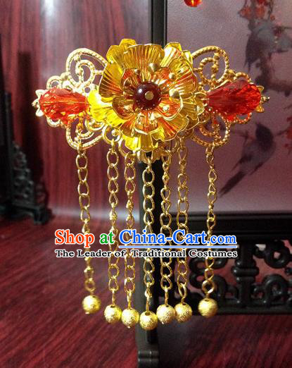 Traditional Chinese Ancient Classical Hair Accessories Princess Hair Stick Bride Tassel Step Shake Hairpins for Women