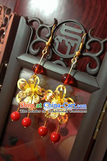 Traditional Handmade Chinese Ancient Classical Accessories Bride Wedding Xiuhe Suit Golden Wintersweet Tassel Earrings for Women