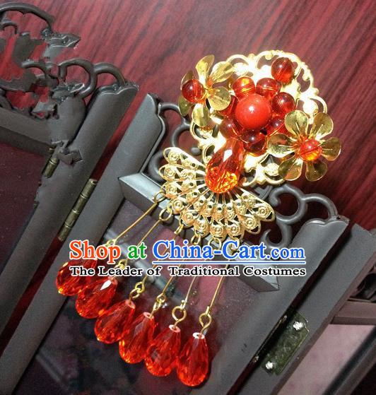 Traditional Chinese Ancient Classical Hair Accessories Bride Red Tassel Forehead Ornament Step Shake Hairpins for Women