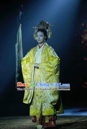 Traditional Chinese Southern and Northern Dynasties Imperial Empress Costume, Chinese Ancient Queen Embroidered Tailing Clothing for Women