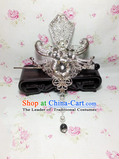 Traditional Handmade Chinese Classical Hair Accessories, Ancient Royal Highness Headband Tassel Tuinga Hairdo Crown for Men