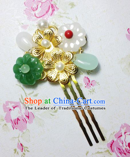 Traditional Chinese Ancient Classical Hair Accessories Hanfu Flowers Hair Comb Step Shake Bride Hairpins for Women