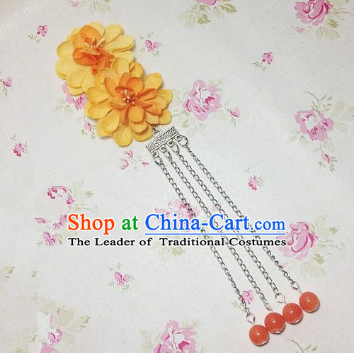 Traditional Chinese Ancient Classical Hair Accessories Hanfu Orange Flowers Tassel Step Shake Bride Hairpins for Women