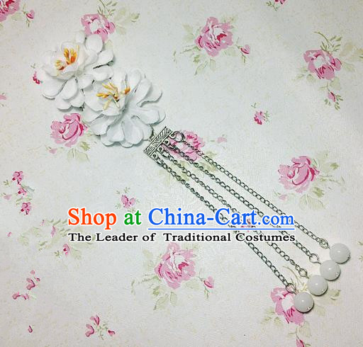Traditional Chinese Ancient Classical Hair Accessories Hanfu White Flowers Tassel Step Shake Bride Hairpins for Women