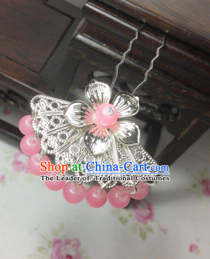 Traditional Chinese Ancient Classical Hair Accessories Hanfu Pink Beads Tassel Hair Clip Bride Hairpins for Women