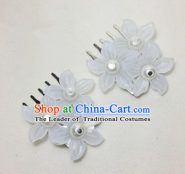 Traditional Chinese Ancient Classical Hair Accessories Hanfu White Flowers Hair Comb Bride Hairpins for Women