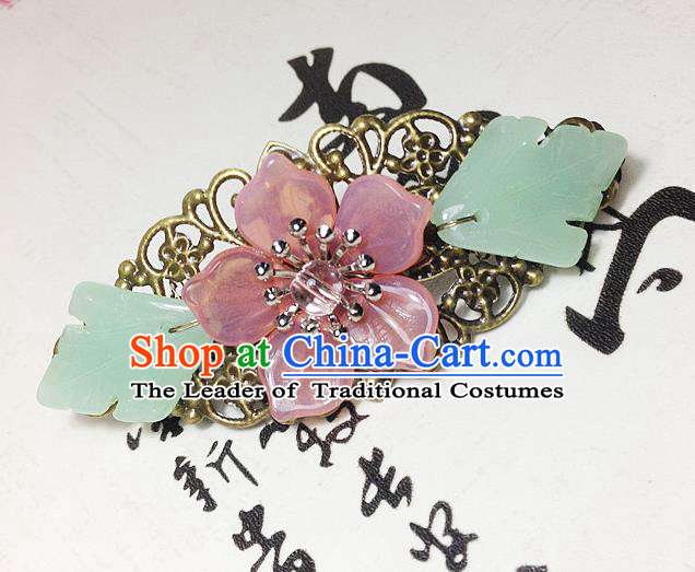 Traditional Chinese Ancient Classical Hair Accessories Hanfu Pink Flower Hair Stick Bride Hairpins for Women
