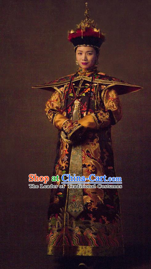 Traditional Ancient Chinese Qing Dynasty Palace Lady Manchu Imperial Concubine Embroidered Dragons Costume and Handmade Headpiece Complete Set