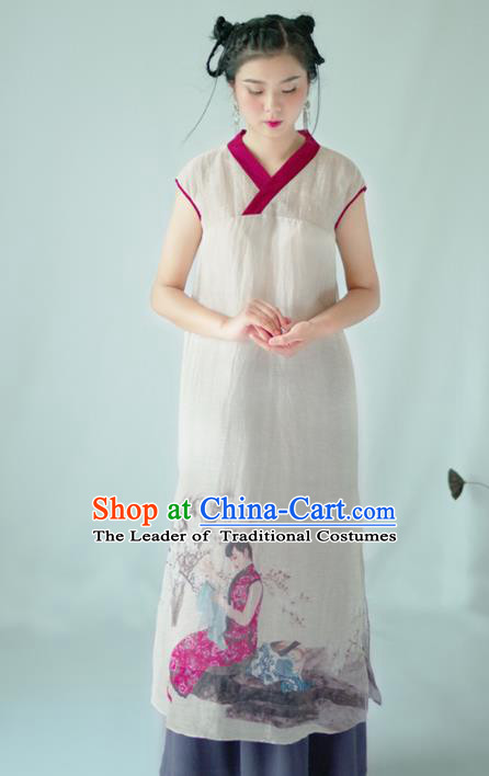 Asian China National Costume Hanfu Printing Qipao Dress, Traditional Chinese Tang Suit Cheongsam Clothing for Women
