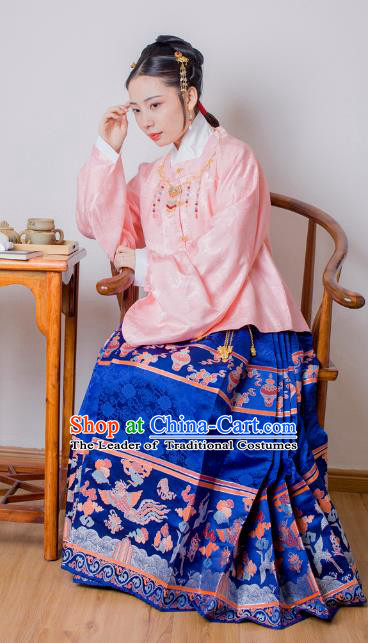 Asian China Ming Dynasty Palace Lady Costume Blue Brocade Horse-face Skirt, Traditional Ancient Chinese Princess Hanfu Embroidered Clothing for Women