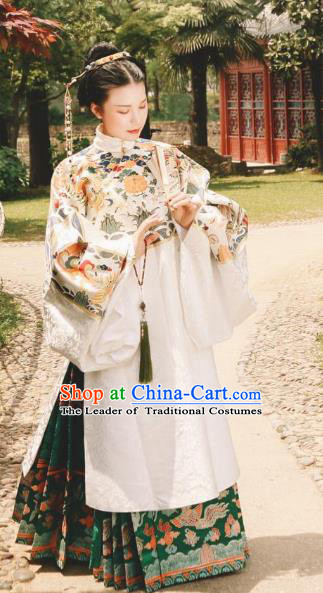 Asian China Ming Dynasty Princess Costume Complete Set, Traditional Ancient Chinese Palace Queen Embroidered Hanfu Clothing for Women
