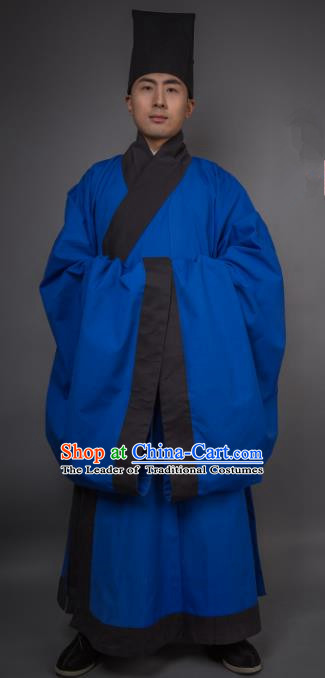 Asian China Han Dynasty Minister Costume Blue Robe, Traditional Ancient Chinese Chancellor Hanfu Clothing for Men