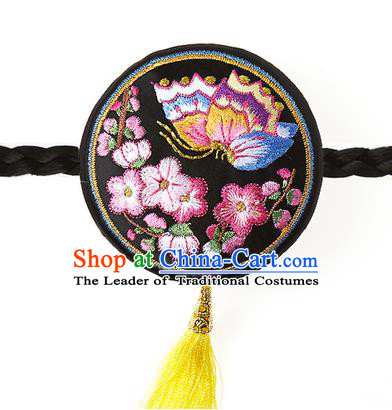 Traditional Korean Hair Accessories Embroidered Butterfly Black Hair Clasp, Asian Korean Fashion Headwear Headband for Kids