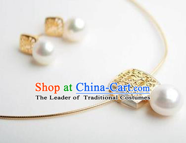 Traditional Korean Accessories Pearls Necklace and Earrings, Asian Korean Fashion Wedding Tassel Decorations for Women