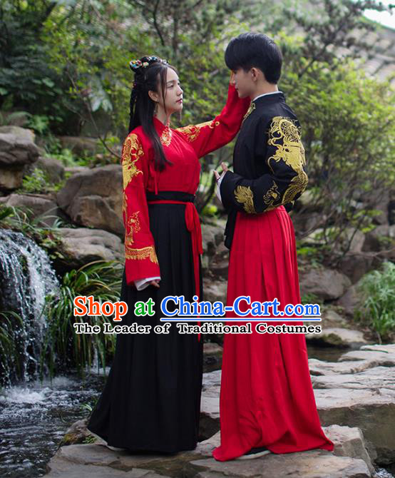 Asian China Ming Dynasty Costume Complete Set, Traditional Ancient Chinese Swordsman Hanfu Embroidered Clothing for Women for Men