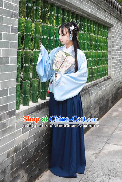Asian China Ming Dynasty Princess Costume Blue Blouse and Skirt, Traditional Ancient Chinese Palace Lady Hanfu Embroidered Clothing for Women