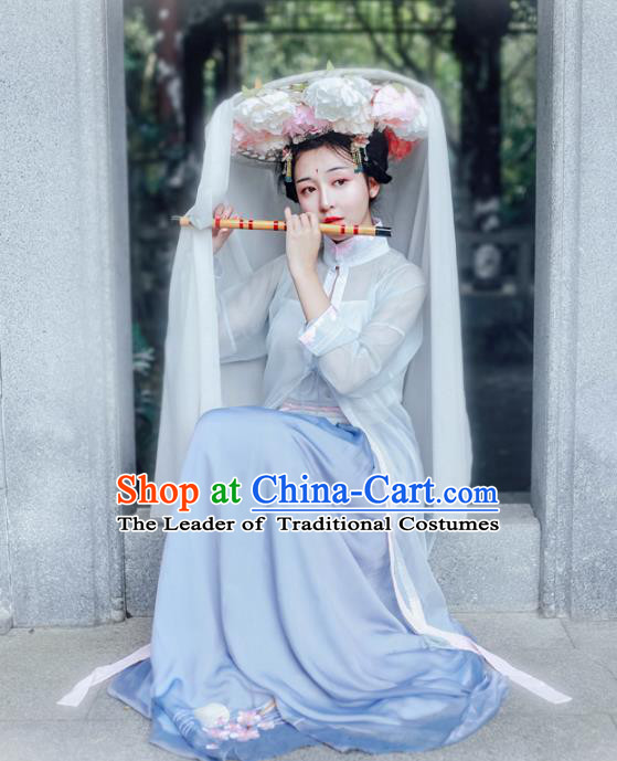 Asian China Ming Dynasty Princess Costume Blouse and Skirt, Traditional Ancient Chinese Palace Lady Hanfu Embroidered Clothing for Women