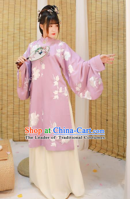 Asian China Ming Dynasty Princess Costume Purple Blouse and Skirt, Traditional Ancient Chinese Palace Lady Hanfu Embroidered Clothing for Women