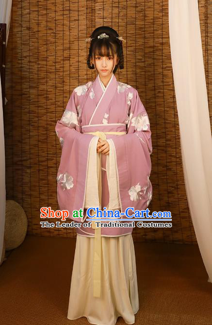 Asian China Han Dynasty Imperial Princess Costume Purple Curve Bottom, Traditional Ancient Chinese Hanfu Embroidered Clothing for Women